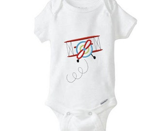 AIRPLANE  Baby Girl Boy Onesie, embroidered onepiece, bodysuit