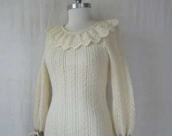 Sweater Dress 70s Knit Dress Icelandic Wool Crochet Dress Puff Sleeve 1970s Dress