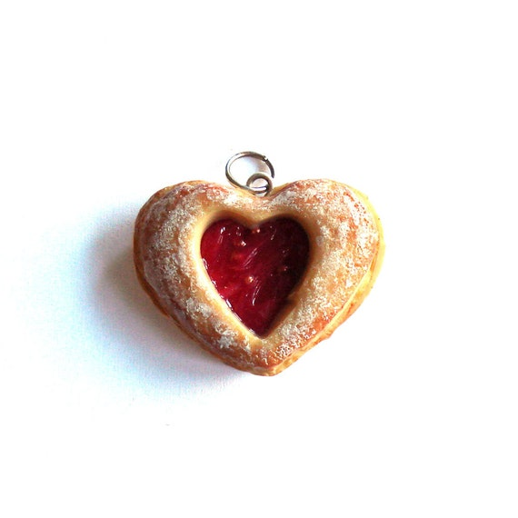 Scented Cookie Necklace Heart Cookie Necklace Linzer Cookie Charm ...