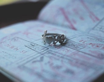 love letter sterling silver (personalize heart with initials) - ring