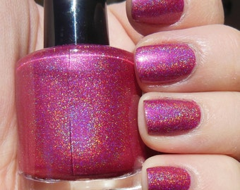 Poppin Pink Linear Rainbow Spectraflair HOLOGRAPHIC Indie Nail Polish Lacquer 2 Sizes Available