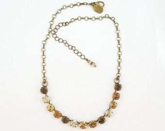 Brown Crystal Necklace Champagne Brown Swarovski Crystals 8mm Tennis necklace Earth tones Rhinestones,Golden Shadow,Brass finish,PECAN BN29