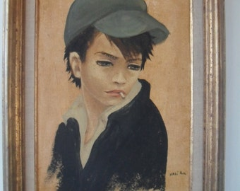Vintage Rebel Boy Oil Painting by Listed French Artist Nadi Ken Framed 50s 60s Mid Century Modern