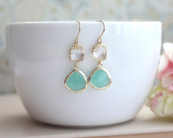 Mint Opal, Clear Crystal Glass Drop Dangle Earrings. Modern Bridesmaid Gifts. Mint Wedding. Bridesmaids Gift Jewelry. Gold and Green Wedding