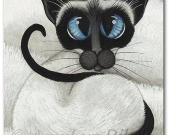 Siamese Cat Cat Nap Pet Portrait ArT - Art Prints or ACEO by Bihrle ck371