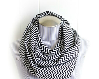 Black and White Chevron Infinity Scarf, Zig Zag Print Flannel Scarf