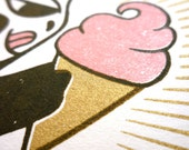 Monkey Loves Ice Cream, Original Illustration as a 3-color limited edition Gocco Print