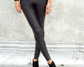 Faux Leather Leggings / Black Leggings / Eco Leather Leggings / Unique Leggings / marcellamoda -  MP013