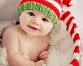Knit Baby Hat, Christmas Long Stocking Cap Elf Newborn, Knitted Infant Photo Prop, Red, Green, Blue, White, All Sizes, Munchkin Pixie Beanie