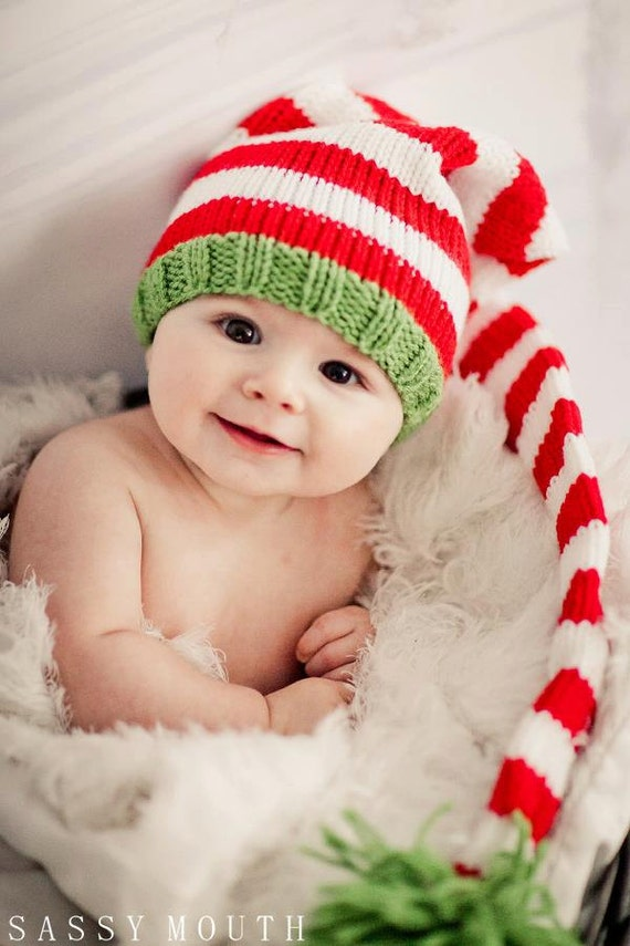 Knitting Patterns For Baby Elf Hats : Items similar to Knit Baby Hat, Christmas Long Stocking Cap Elf Newborn, Knit...