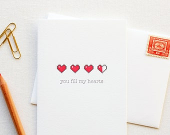 Fill My Hearts Letterpress Love Card