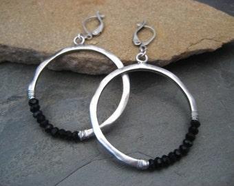 Black onyx hoops, silver hoops, crescent dangle, beaded circle, half moon, circle dangle, black onyx dangle, black earrings, gemstone hoops