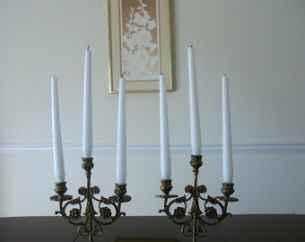 Vintage Brass French Candelabra  Shabby Chic Candle Holders