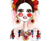Frida Kahlo, Frida Art, Fashion illustration, Fashion print, Frida print , Girls art , Girls print