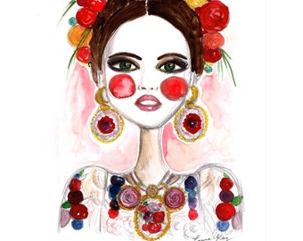 Frida Kahlo, Frida Art, Fashion illustration, Fashion print, Frida print , Girls art , Girls print