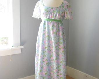 1970s Vintage Handmade Young Edwardian Style Prairie Maxi Dress // Floral // Hippie // Boho // Festival // Pastel