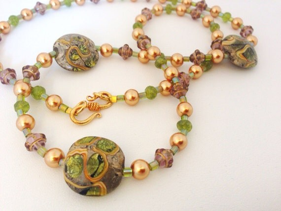 "Pearl Tsavorite Garnet & Lampwork Bead necklace - Gold Green - 24Kt gold Vermeil Clasp - 24"" matinee - Bronze, Gold, Moss, Apple - glass"