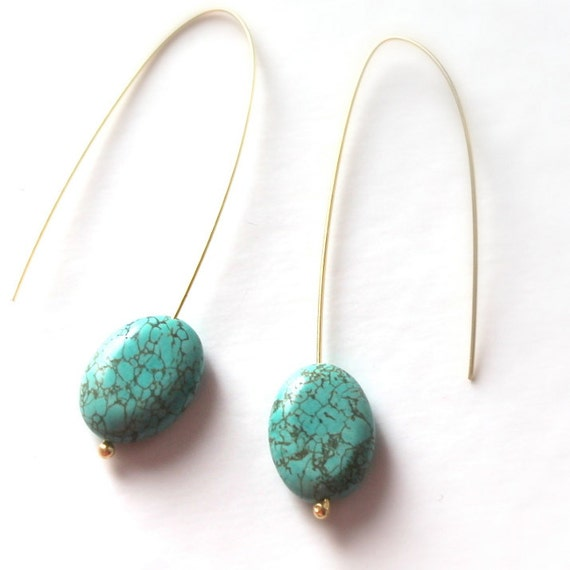 turquoise streling silver  long dangle earrings- gold plated 14k- gemstone jewelry - blue jewels for her-woman/girl/teen