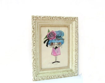 Vintage Art Original Fashion Chalk Sketch Caricature Funny Girl Big Hat Pink Blue Child Nursery White Gesso Frame