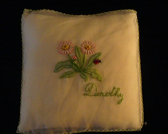 Vintage Sachet Hand Stitched Sachets Ladybug Pillow Sachets Embroidered Names Dorothy YourFineHouse  SHIPSWORLDWIDE