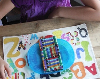 Back to School Kids Napkins - Small Sized Colored in Crayons