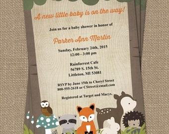 Woodland baby shower invitations with forest animals, wood grain, digital, printable file
