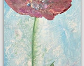 Original Red Poppy Floral Acrylic Still Life Art Painting on Canvas 8x16x1 by Sheri Wilson from Sherischart