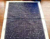 1950 star maps, astronomy star atlas map 13 14 original vintage zodiac chart map of stars Great Cross Cygnus constellation star stargazing
