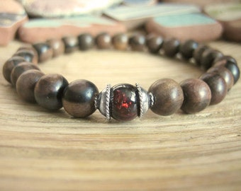 Mens Beaded Bracelet - Mens Wood Bracelet with Garnet, Tiger Ebony Wood Mala Beads and Silver for Energy, Motivation and Stength