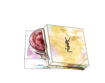 Yves Saint Laurent Créme de Blush Colorful Fashion Illustration Fine Art Print