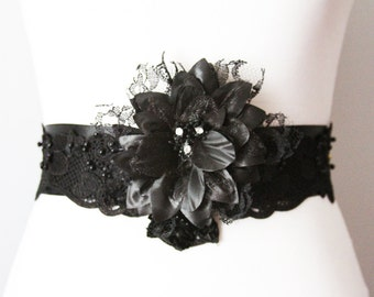 Bridal Sash Belt Wedding Sash Blet - Black Lace Flower Sash Belt - Wedding Dress Sashes Belts