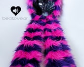 CUSTOM Cheshire Cat inspired scoodie rave kitty faux fur animal hat monster fluffies