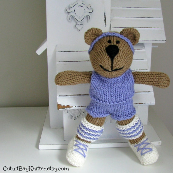 Knitted Toy Hand Knit Bear Stuffed Animal by cotuitbayknitter