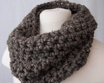 Crochet cowl scarf chunky cowl barley neck warmer neckwarmer grey cowl brown circle scarf hand crocheted cowl hand crocheted scarf women