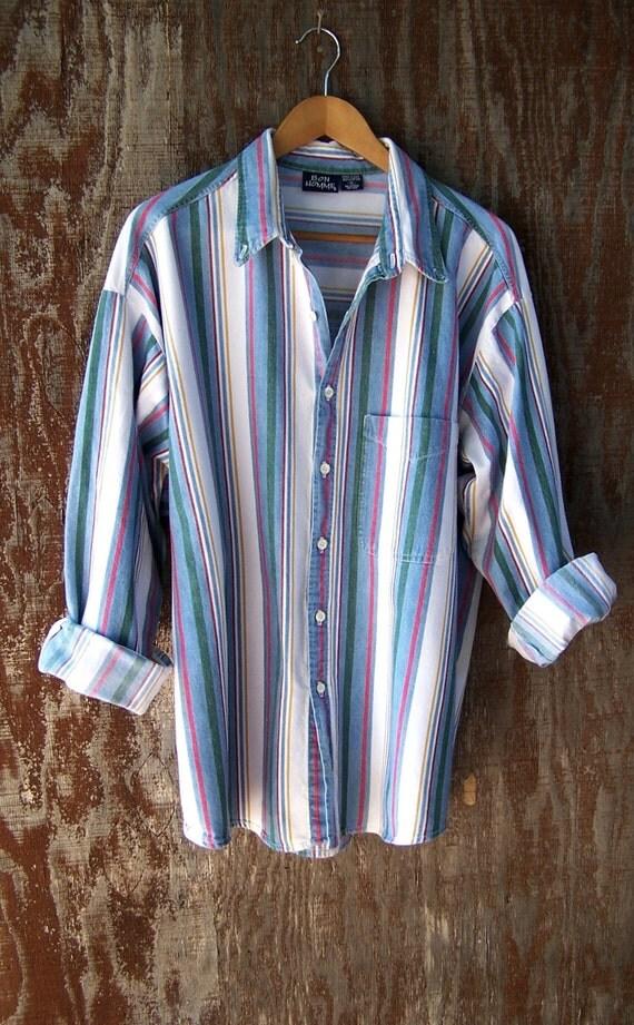 Denim Stripe Oxford Vintage 80s Button Up Blue By Gloriousmorn