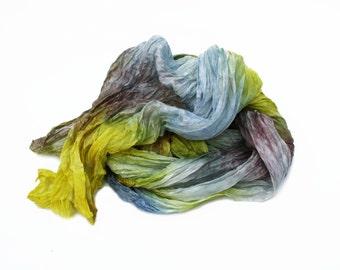 blue silk scarf -  Sand Marina  -  yellow, blue, brown silk scarf.