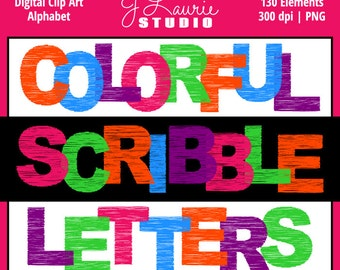 Digital Alphabet Letters Clipart-Colorful Scribble-Sketched-Doodle Alphas-Scrapbooking-Greeting Cards-Invitations-Instant Download Clip Art