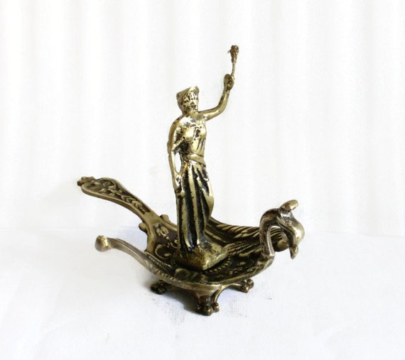 PHOENIX rising. Justice lady figurine on bird dish, vintage brass, HANDLE, pedestal FOOTED, table sculpture, Mythical creature, office decor