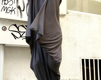 XXL,XXXL, Oversize Kaftan Dress/ Oversized Maxi Tunic/ Plus Size Extravagant Dress/Dark Grey with Pink Sleeve A02095