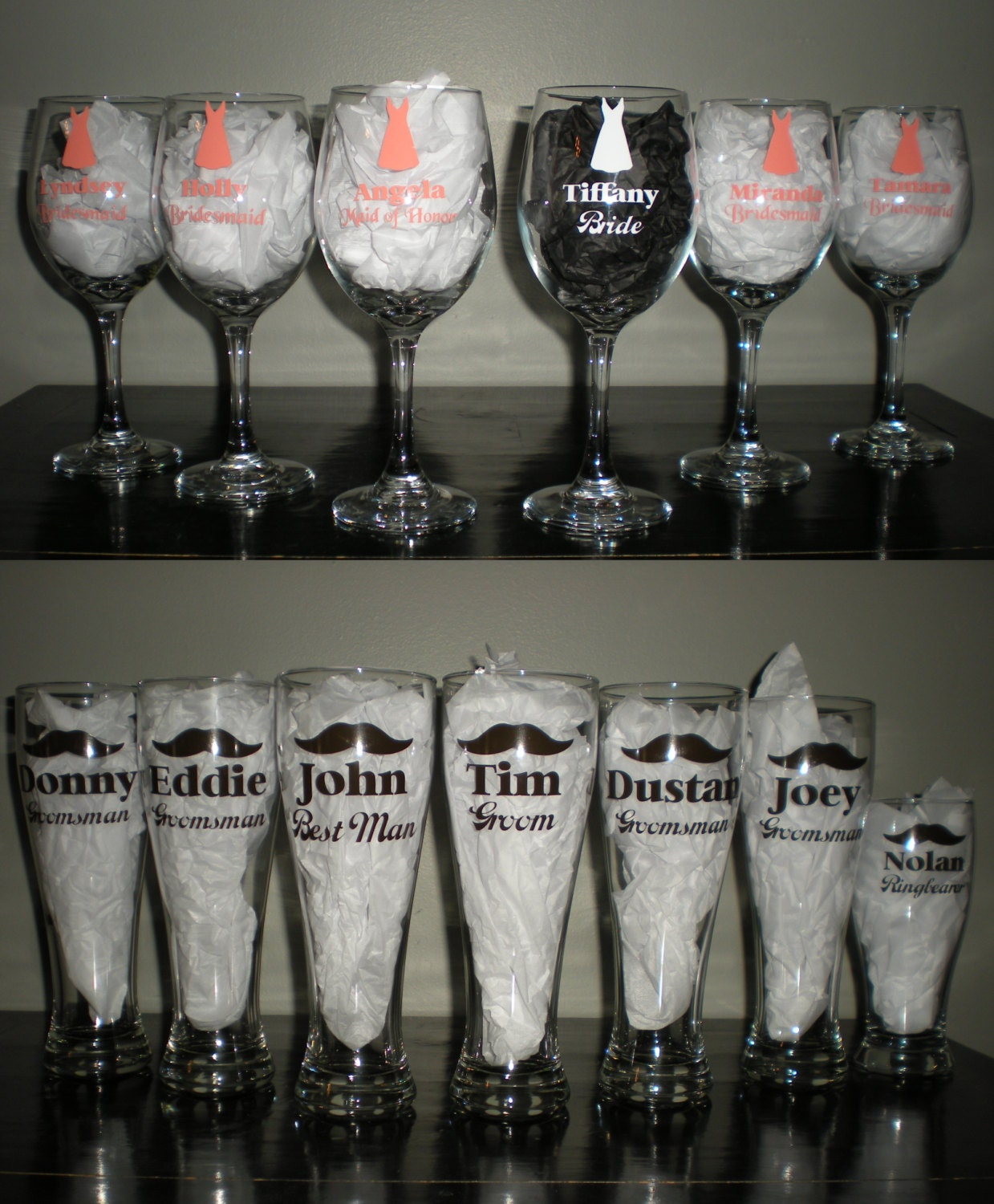 Wedding Party Gift Baskets: Wedding Party Wine Beer Glasses Set Bridal Gift Bridesmaids