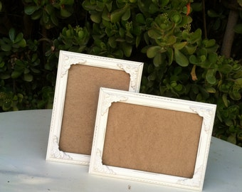 Set of 2 Picture Frames, Ornate, Shabby Chic, 5 x 7, 4x6,   Distressed, White, Baroque, Wedding, Nursery (Los Angeles)
