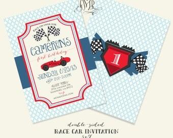 Printable invitations - race car invitation - cars Invitation - calligraphy -boys birthday - freshmint paperie