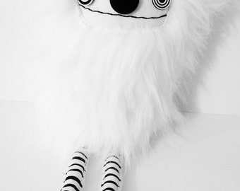 POLKADOTTYDOLL - Small White Plush Creature OoAK Plush Art Doll Small Cute Plushie Creature - LYNDA BLACK