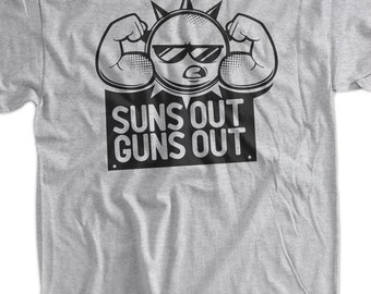 Funny Work Out Shirt Suns Out Guns Out Tshirt Gym Weight LIfting Summer Shirt T-Shirt Tee Shirt Mens Womens Ladies Youth Kids Geek Funny