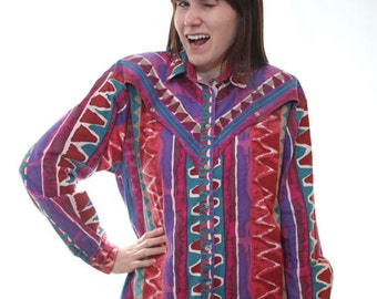 Vintage 90s Southwestern Western Shirt in Bright Colors / Saved by the Bell Style / Made by Chaparral Ridge / Size Medium