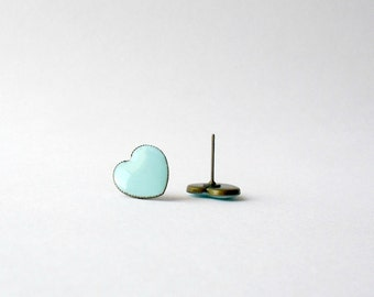 Mint blue heart post earrings- Polymer clay earrings- Cute feminine jewelry