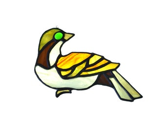 Stained glass bird dove suncatcher, window ornament, hanging home decor brown yellow red colour