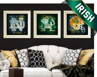 Notre Dame Fighting Irish Maps - 3-pc Combo Set with Fight Song Lyrics - Perfect Christmas, Birthday, Anniversary Gift - UNFRAMED ND Prints