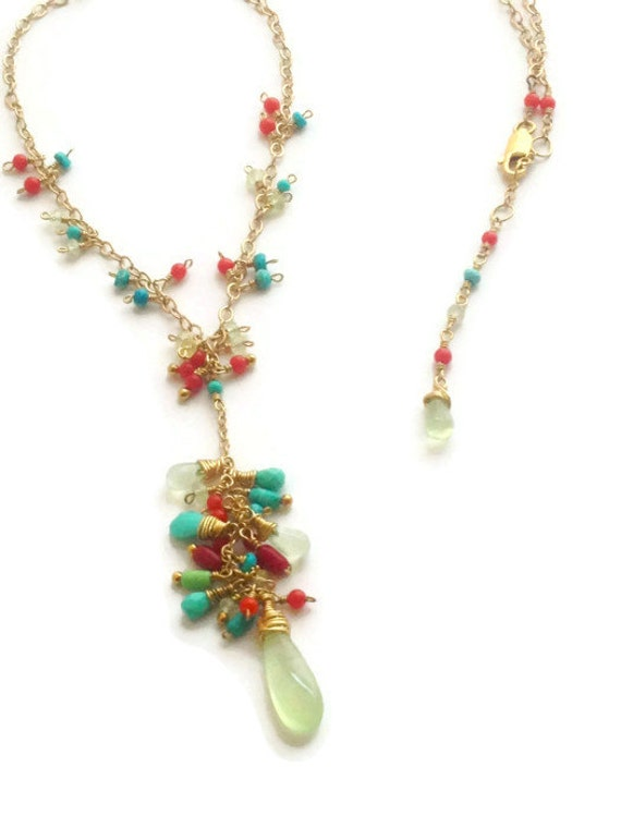 Prehnite Briolette Necklace Turquoise and Coral Cluster Necklace Boho Chic Sundance March Bead Style Magazine Feature 2016