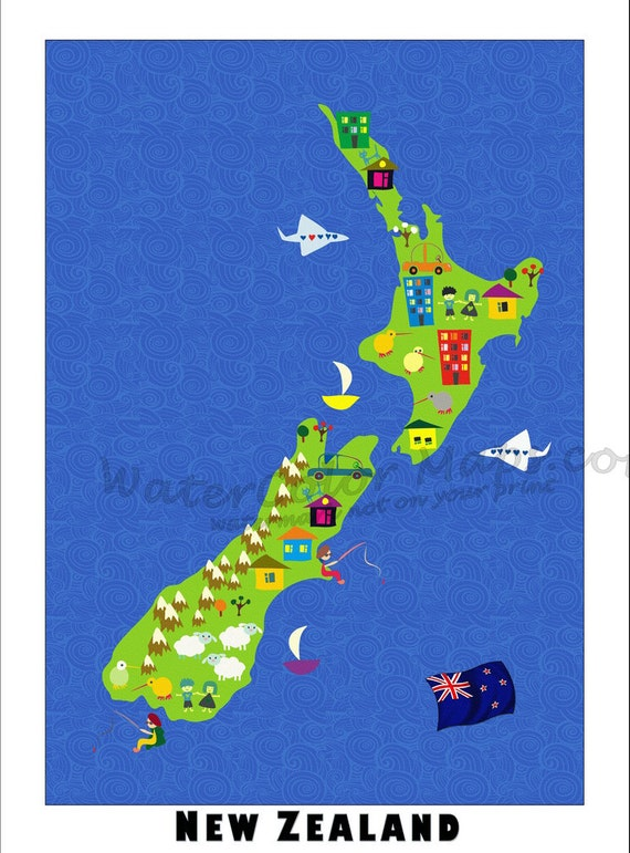 KIDS Maps NEW ZEALAND Map For Kids Childrens Maps Map Of - Wall map children's room